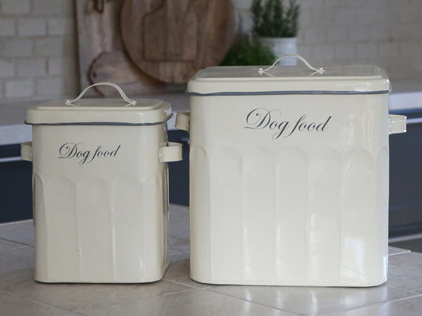 Chic Antique, Blechdose Dog Food in antik creme