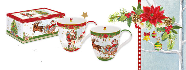 Easy Life, Vintage Christmas 2er Set Becher, sortiert