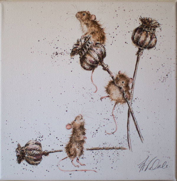 "Wrendale Leinwandbild 20 x 20 cm ""Country Mice"""