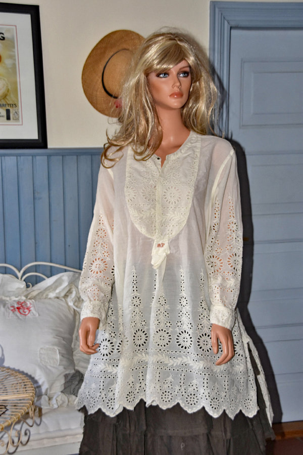 Magnolia Pearl Eyelet Ines Classic Shirt, antique white