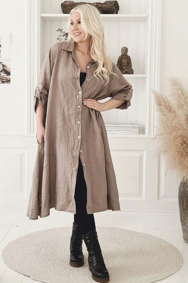 ByPias Bohemiana Kleid / Dress Fool for Love, Leinen in taupe