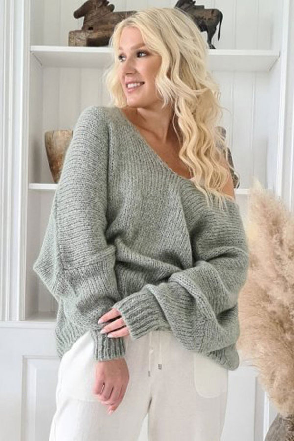 ByPias Bohemiana Pullover Honey, Mohairmix in danish green